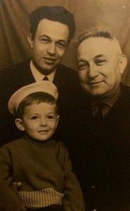 Bruk family in 1960s, Kiev. Isaak Bruk (1908-1985) with son Vitaliy (1935-2005) and grandson Meir. Isaak survived the Nazi concentration camp during WWII and lived in Kiev. His grandson Meir (b.1964) is a Rabbi in Brooklyn.