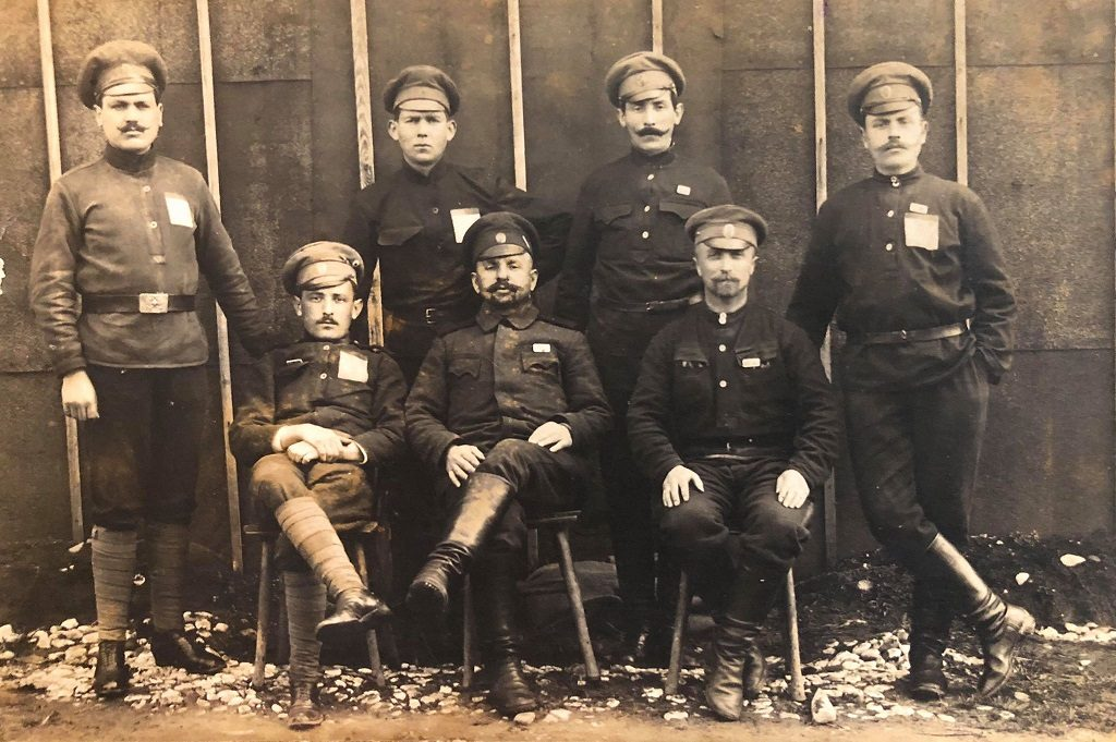 Zalman Mendelevich Senderov (standing, second from the right) in German concentration camp for Russian POWs during WWI. Zalman was killed during the pogrom in Nezhin in 1919. Provided by Stella Saperstein