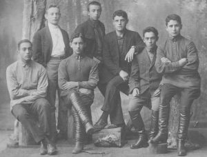 Nezhin branch of HeHalutz, June 1924. Standing left - Asher Cahaner (1907-1994) Next to him - Mordechai Bobovnikov (1907-1980) Sitting left - Avraham Shulman (1908-1978) Next to him - Yosef Vishnievsky (1908-1982)