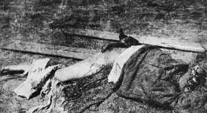Jewish victim of Denikin's pogrom in Cherkassy: without head, right hand and right leg, left leg cut below knee