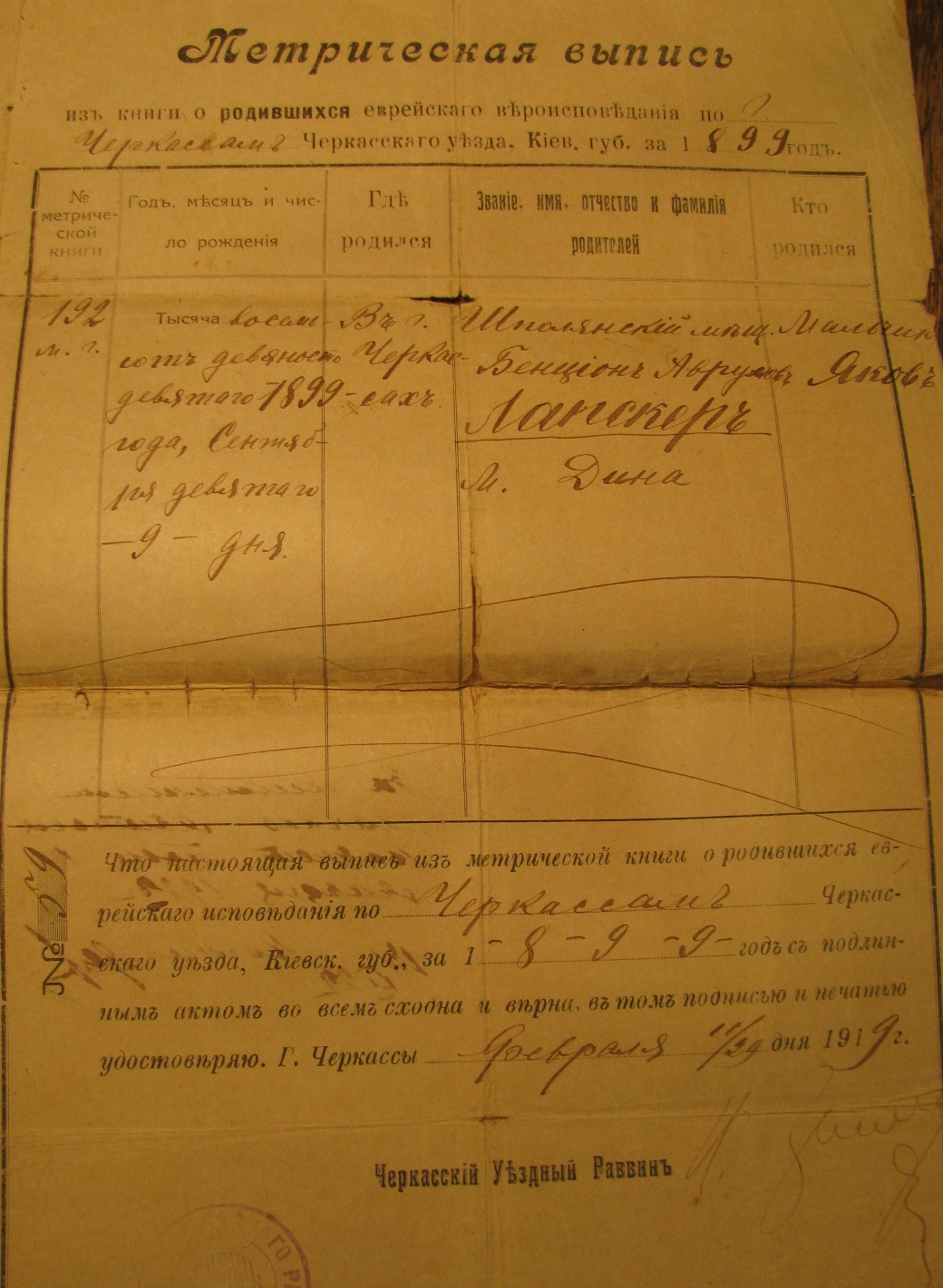 Extract from Cherkassy metric book about the birth of Yacob Labsker, son of Bentsion and Dina in September 9, 1899.