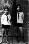 Pioneers Rabinovich Ester and his brother Grigory. Photo of 1930's