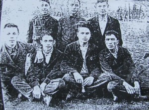 Jewish guys at Talne foodball field. Most of them were killed during WWII. Photo by 1940.