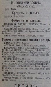 Medzhybizh enterpreneurs list from the Russian Empire Business Directory from 1904