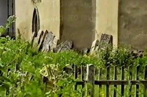 Grave stones from Jewish Cemetery on the castle territory at the end of 1980th