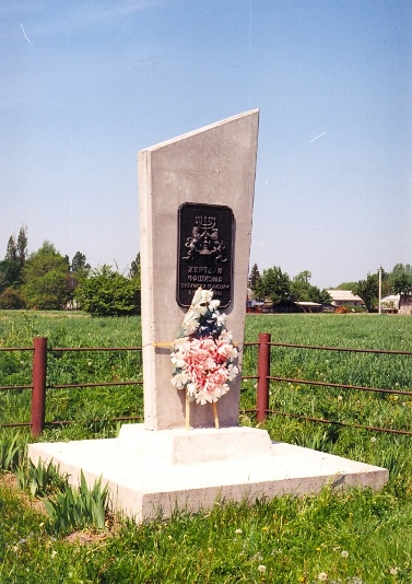 Monument on the Holocaust mass grave at the local Jewish Cemetery