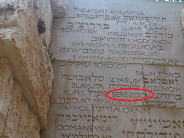 "Berezdov on the wall of ""Destroyed communities"" in Yad Vashem"