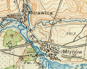 Mlinov on Poland map in 1922