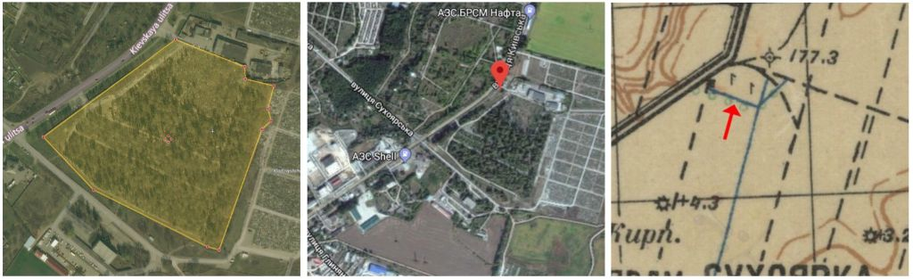 Location of Boguslav Jewish cemetery. Photo from the Surveys of Jewish cemeteries by ECJF.