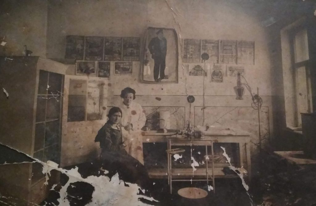 Rivka Lis (Mamut) (? - 1941), on her working place in former Godshteyn's factory in Boguslav, 1926. Photo provided by her grandson Roman Tivin in 2019.