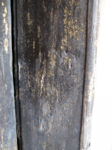 Trace of destroyed mezuzah