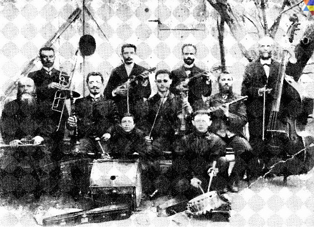 One of the klezmer bands of town of Radomyshl, 1890's. First violinist and bandleader, Berman sitting in the center.From the book Jewish Instrumental Folk music, The collections and writings of Moshe Beregovski by Mark Slobin