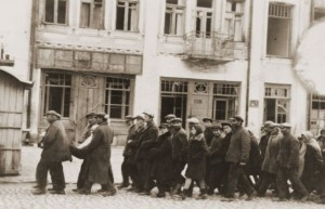 Jews from Kamenets-Podolsk collected by Germans before being taken to the murder site