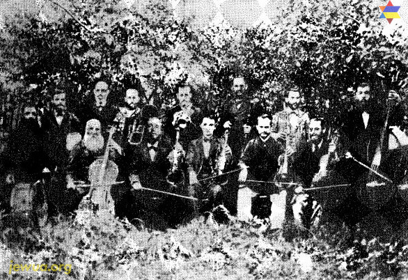 "The band of A.-M. Kholodenko (""Pedoster""), Berdichev 1888. From the book Jewish Instrumental Folk music, The collections and writings of Moshe Beregovski by Mark Slobin"