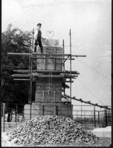 Memorial monument during erection in 1960th