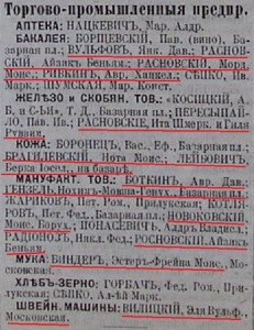 Borzna enterpreneurs list from Russian Empire Business Directories by 1903