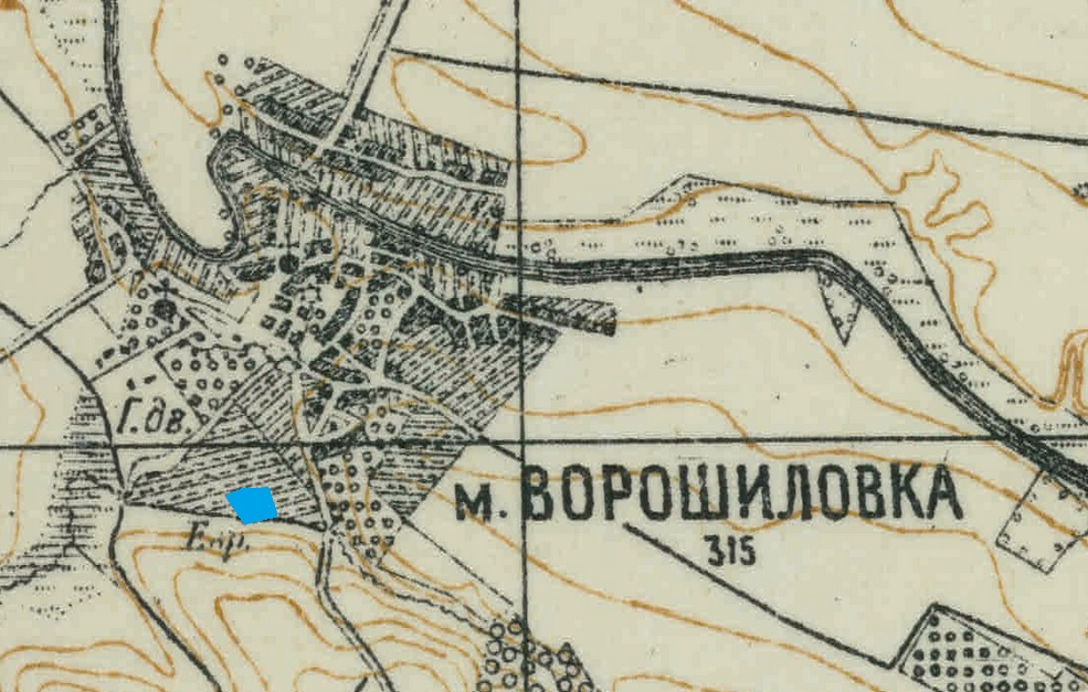 "Jewish Cemetery on the Voroshilovka map from 1900's. Map was taken from <a href=""http://easteurotopo.org/"">easteurotopo.org</a>"