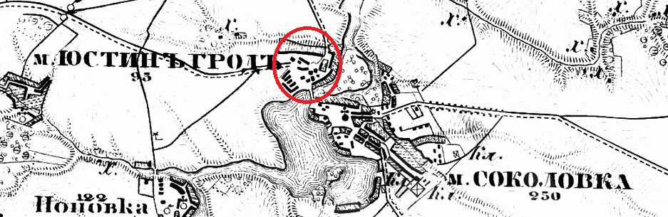 Justingrad on the map, 1846