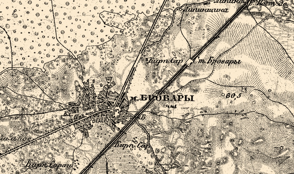 Brovary on the Pre-Revolution map, 1868