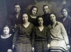 Group of Jews in Fastov, end of 1920's. Anna Shapiro is in the front row from left. Courteously Ilay Shapiro