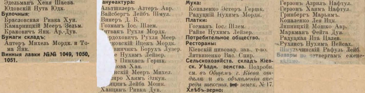 Rzhyshchev entrepreneurs list from Russian Empire Business Directories by 1913, part 2