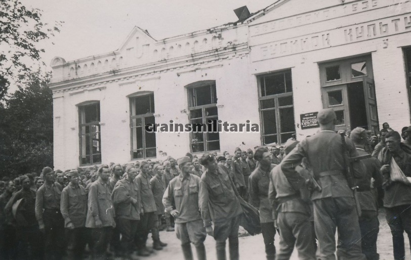 Soviet POWs near Tarashcha House of culture, 1941