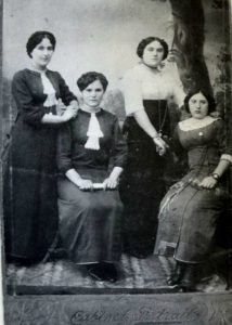 Friends Osnabeila and Leika Antonovsky, Elka Pukotinsky and Liuba Tenofsky in Vinograd, 1910
