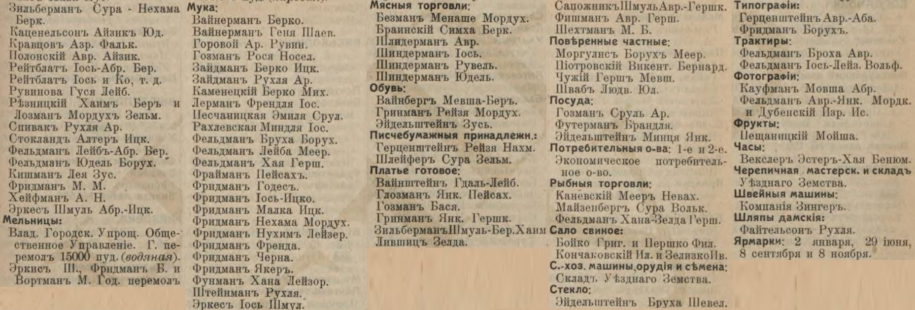 Ovruch entrepreneurs list from Russian Empire Business Directories by 1913. Part 2