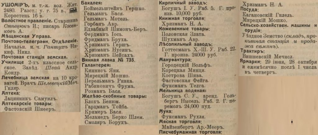 Ushomir entrepreneurs list from Russian Empire Business Directories by 1913