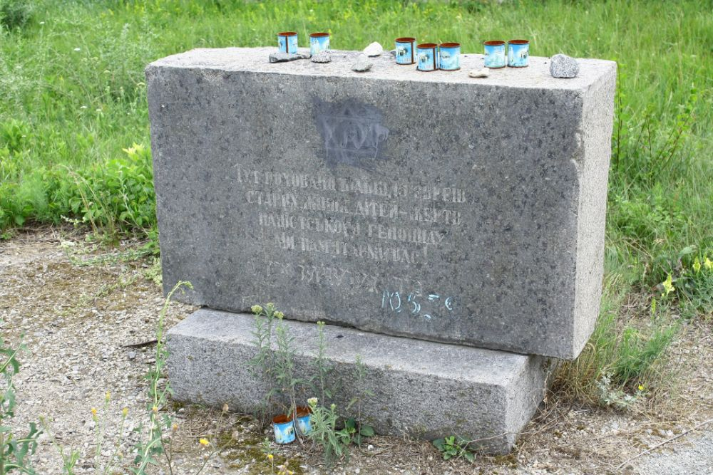 Old Soviet's Holocaust monument in local Jewish cemetery, Savran 2018